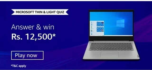 Amazon Microsoft Thin & Light Quiz Answers