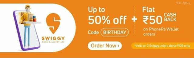 PhonePe Swiggy Offer- Get Upto 50% Off + Flat 50₹ Cashback