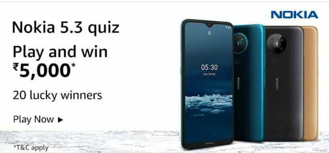 Amazon Nokia 5.3 Quiz Answers