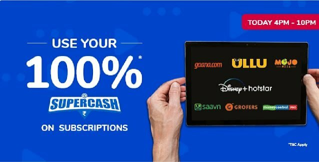Use 100% Supercash Upto ₹100 On Subscription Purchase