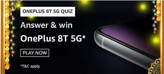 Amazon OnePlus 8T 5G Quiz Answers