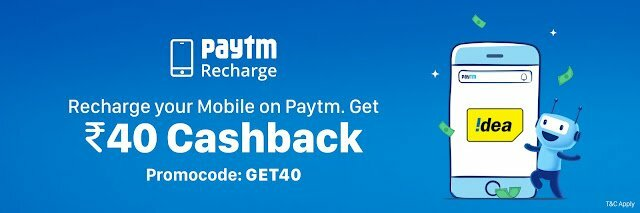 Paytm Idea Recharge Offer