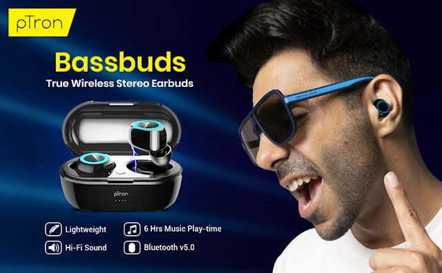 PTron Bassbuds Wireless Bluetooth Headphone @699